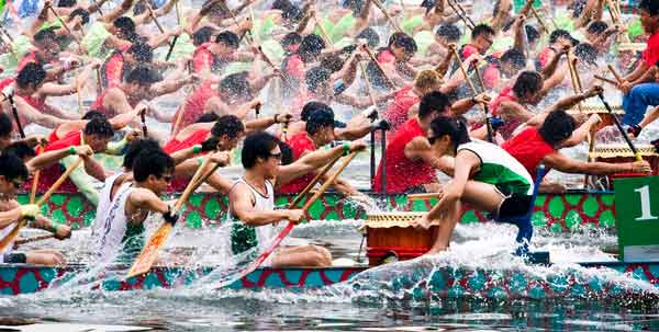 The famous dragon boat races - Yunnan, China